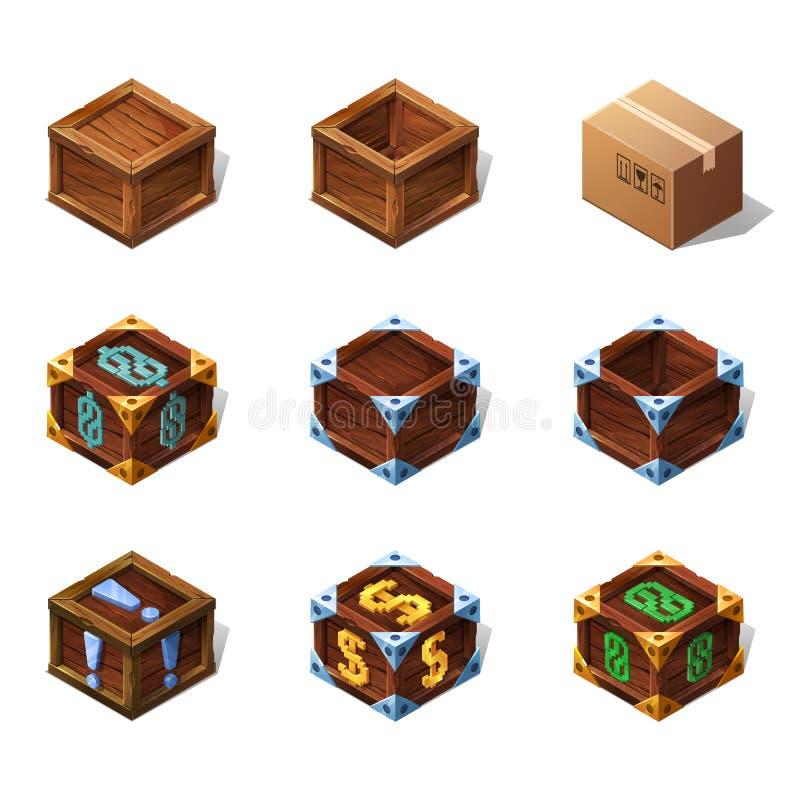 Reeks houten isometrische dozen van het pictogrammenbeeldverhaal voor spel Vector illustratie stock illustratie