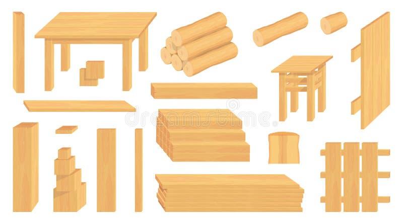 Reeks houten logboeken, boomstammen en planken Verschillende houten ambachten bosbouw Houten te verkopen ambachten Houten omheini royalty-vrije illustratie