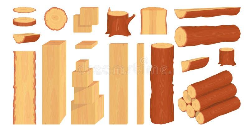Reeks houten logboeken, boomstammen, stomp en planken bosbouw Brandhoutlogboeken Boom houten boomstam Houten schors en boomlogboe stock illustratie