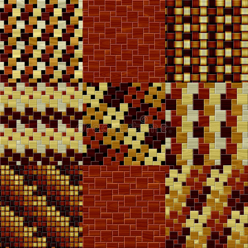 Reeks houten naadloze geproduceerde texturen van het vloerpatroon vector illustratie