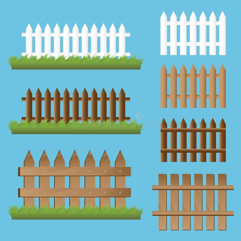 Reeks houten omheiningen royalty-vrije illustratie