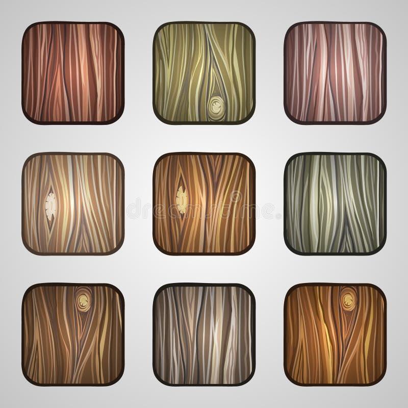 Reeks houten pictogrammen Malplaatje Houten Knopen royalty-vrije illustratie