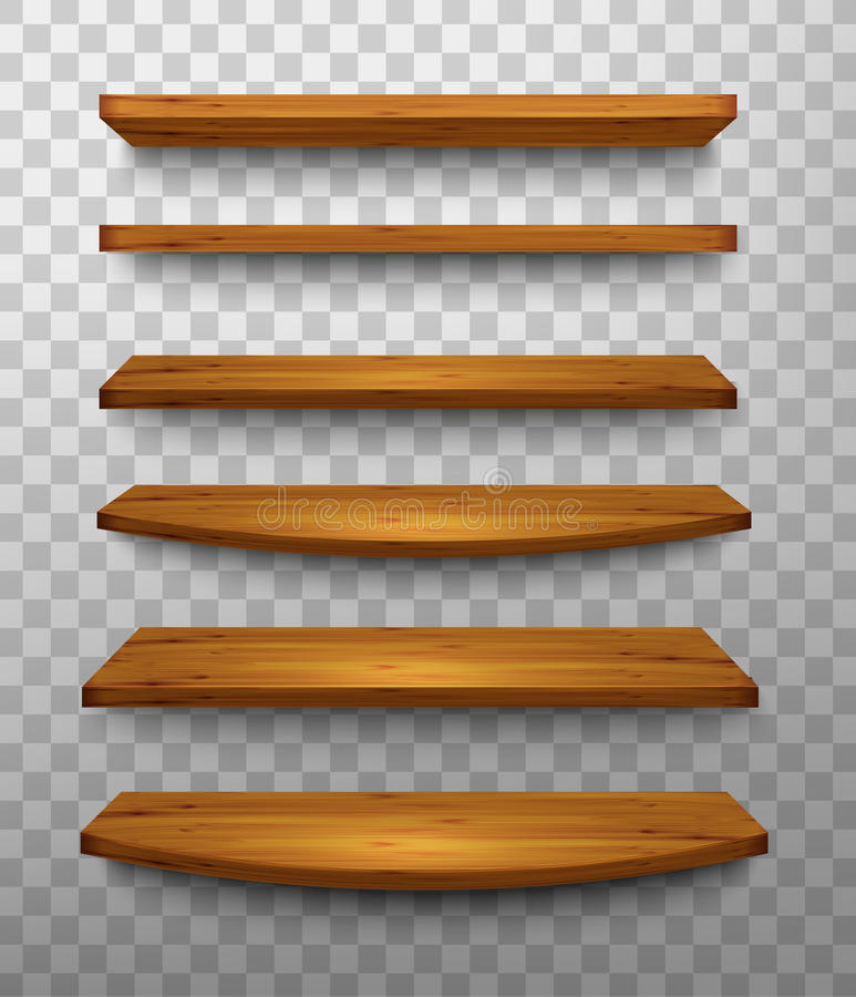 Reeks houten planken op een transparante achtergrond stock illustratie