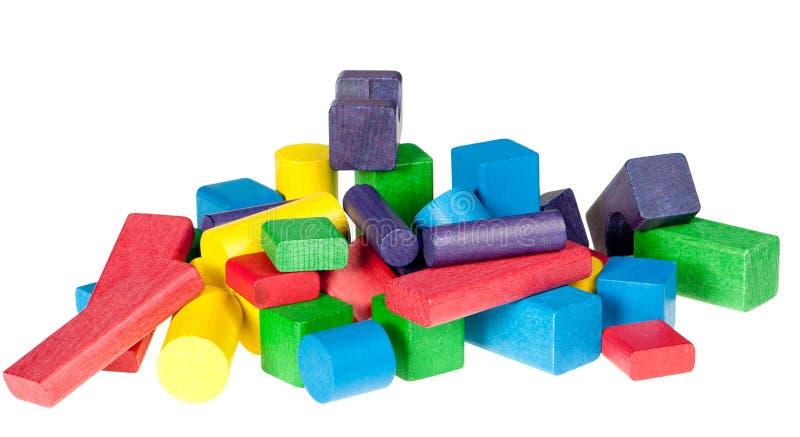 Reeks houten speelgoed van blokken royalty-vrije stock afbeeldingen