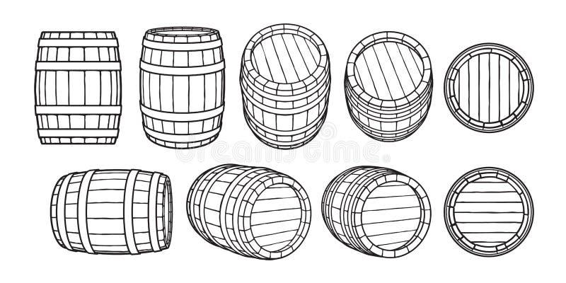 Reeks houten vaten in verschillende posities Voor en zijaanzicht, zwart bij verschillende hoeken Vectorillustraties stock illustratie