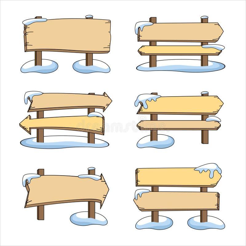 Reeks houten wijzers in de sneeuw vector illustratie
