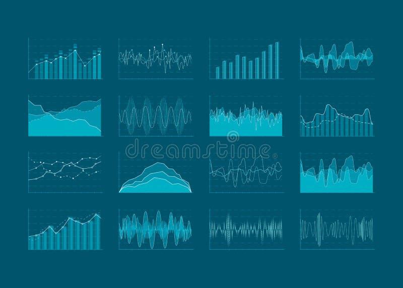Reeks HUD en infographic elementen Gegevensanalyse en analyticsvisualisatie Futuristisch gebruikersinterface Vectorillustratie IS royalty-vrije illustratie