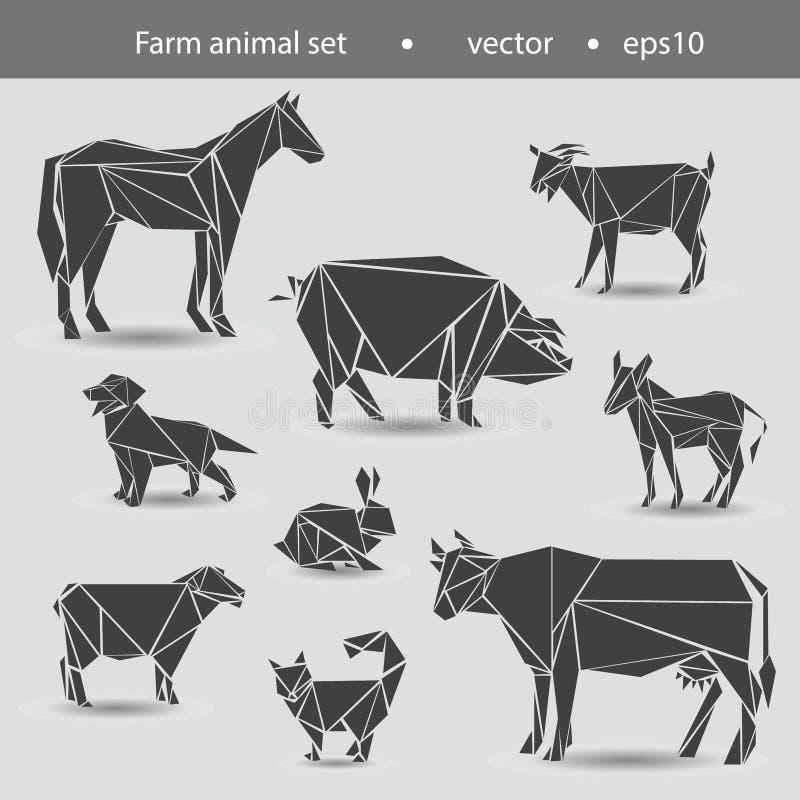 Reeks huisdieren van het landbouwbedrijf Paard, koe, ezel, geit, schapen, hond, kat, konijn royalty-vrije illustratie