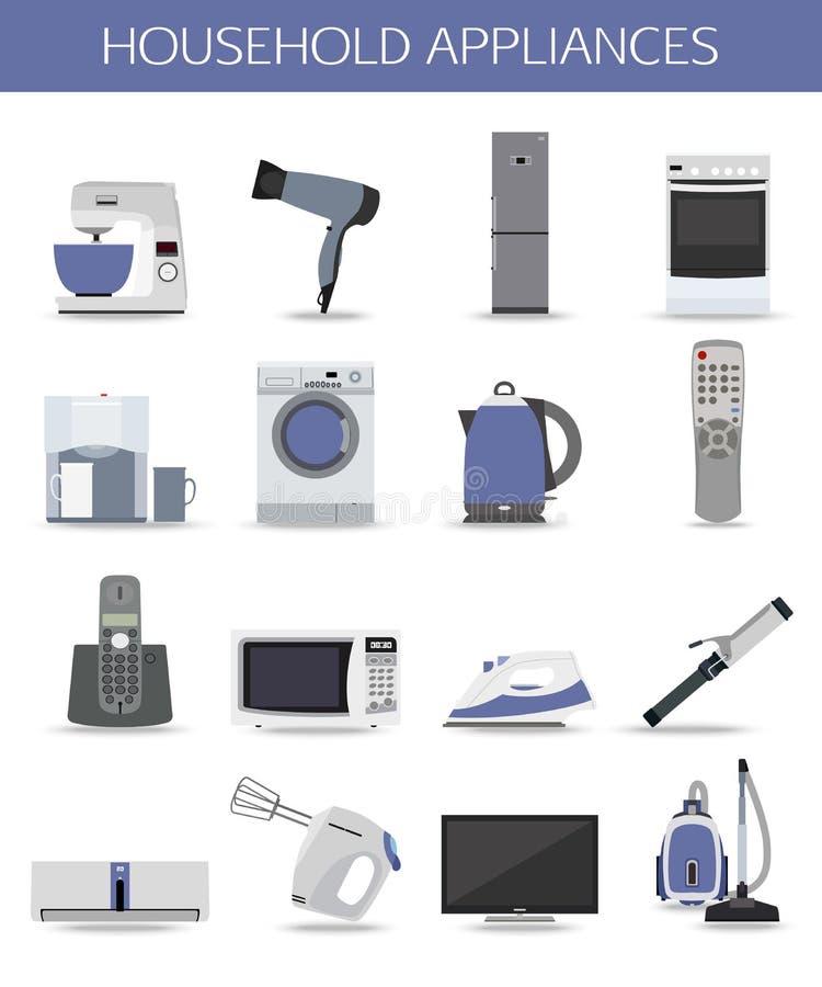 Reeks huishoudapparaten en elektronische apparaten royalty-vrije illustratie