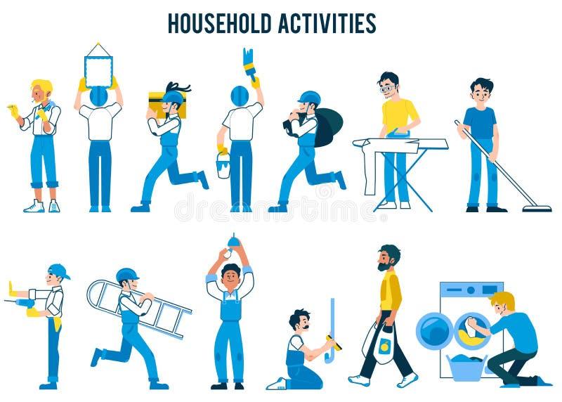 Reeks huishoudenactiviteiten, in vlakke beeldverhaalstijl vector illustratie