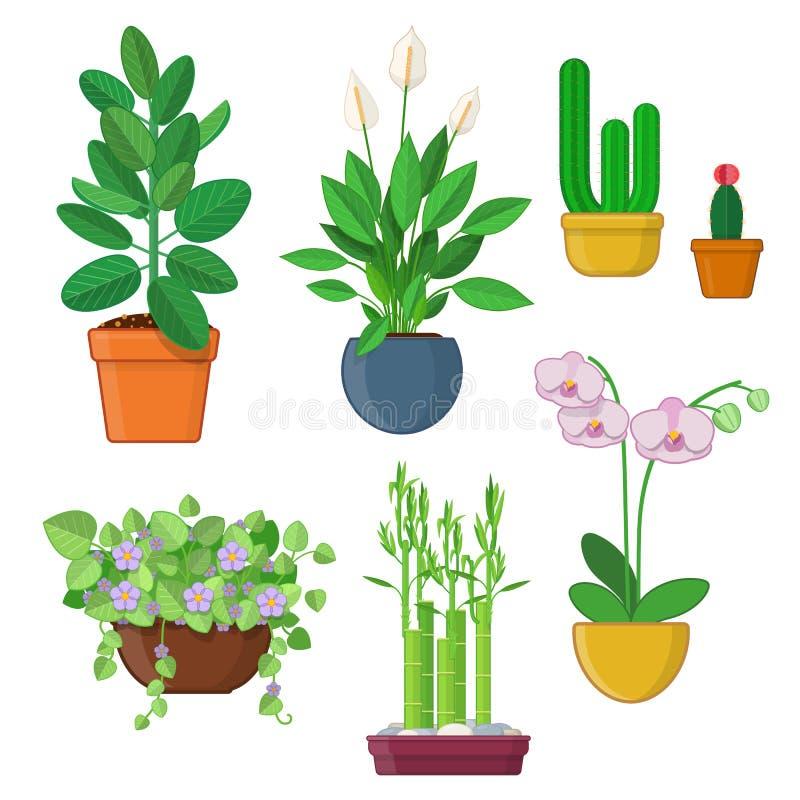 Reeks huisinstallatie en bloemen in potten stock illustratie