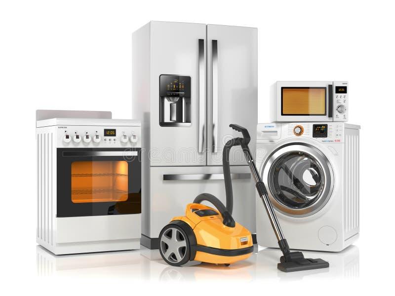 Reeks huistoestellen Ijskast, wasmachine, microgolf royalty-vrije illustratie