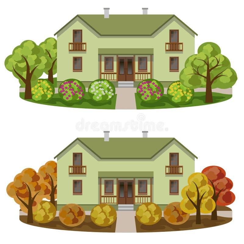 Reeks huizen in gekruid tuinlandschap vector illustratie