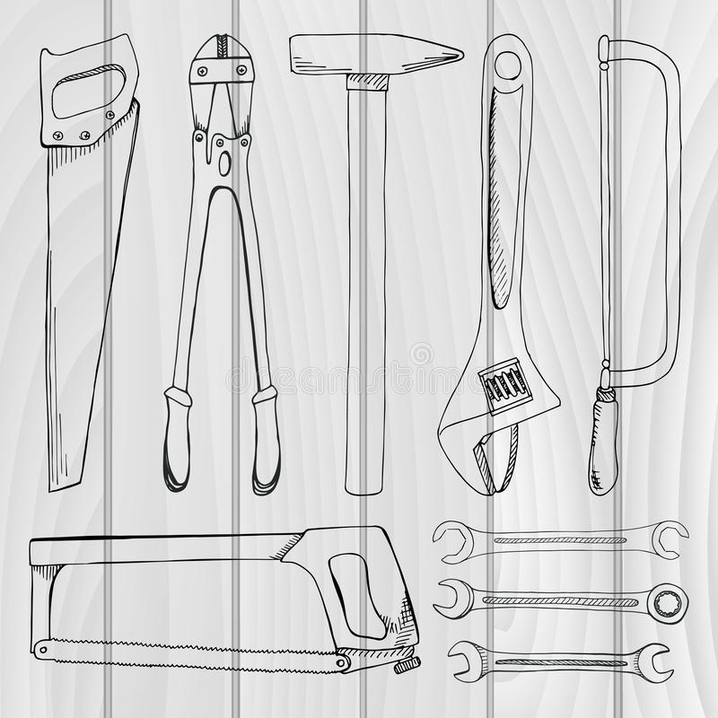 Reeks hulpmiddelen, hardware Verschillende metaalhulpmiddelen royalty-vrije illustratie