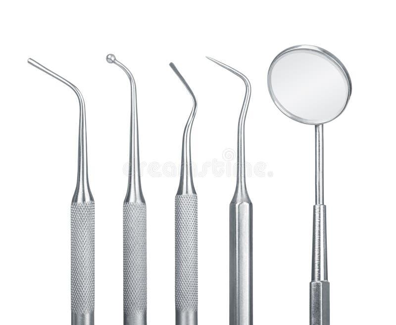 Reeks hulpmiddelen van de metaalmedische apparatuur voor tanden tandzorg royalty-vrije stock foto