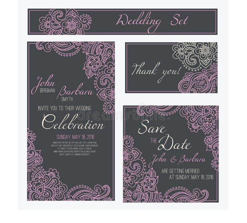 Reeks huwelijk, uitnodigings of verjaardagskaarten met romantisch bloemenornament Roze bloemen ot de donkere grijze achtergrond stock illustratie
