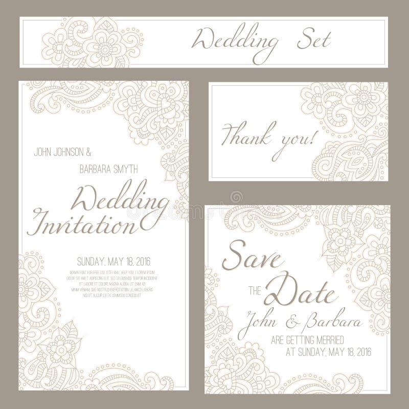 Reeks huwelijk, uitnodigings of verjaardagskaarten met romantische bloemenachtergrond vector illustratie