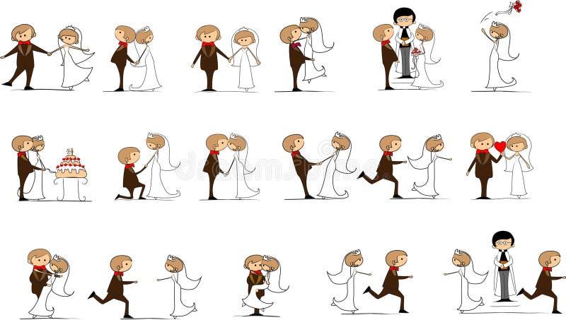 Reeks huwelijksbeelden stock illustratie