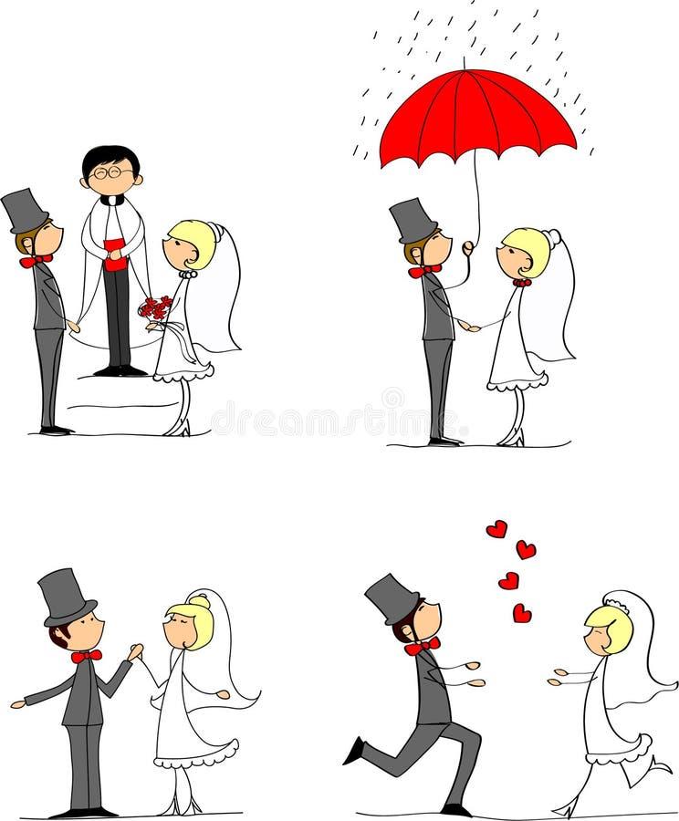 Reeks huwelijksbeelden, vector stock illustratie