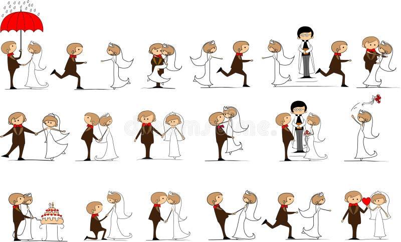 Reeks huwelijksbeelden, vector royalty-vrije illustratie