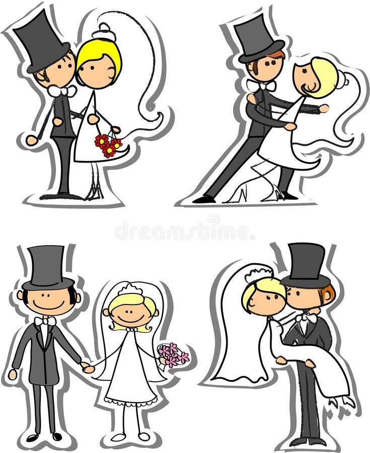 Reeks huwelijksbeelden, vector vector illustratie