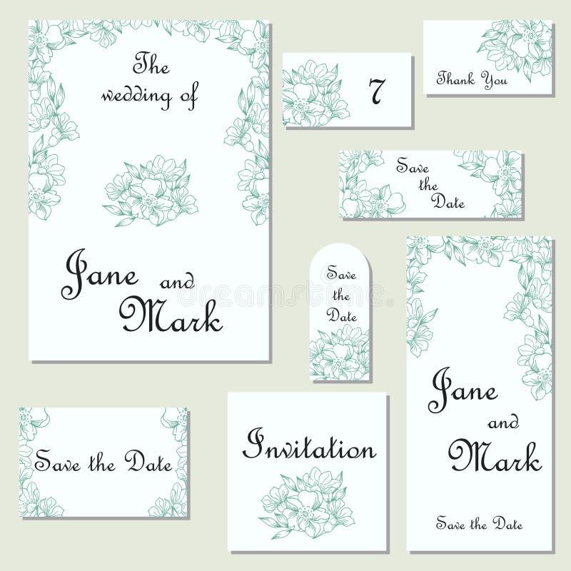 Reeks huwelijksuitnodigingen Het malplaatje van huwelijkskaarten met individu royalty-vrije illustratie