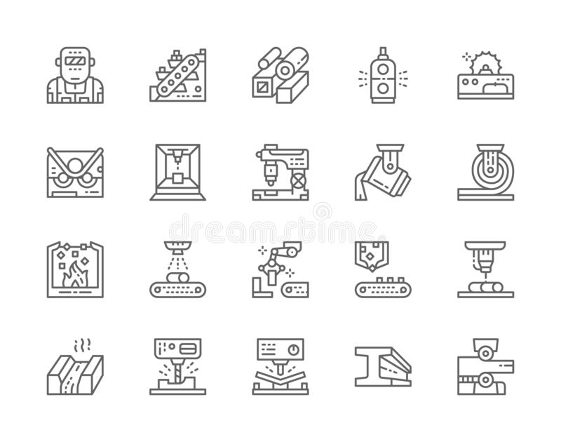Reeks Icons van de lijn van de Metallurgy Industry Line Metaalsnijmachine, transportmachine en meer stock illustratie