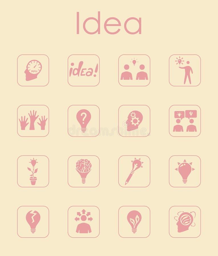 Reeks idee eenvoudige pictogrammen stock illustratie