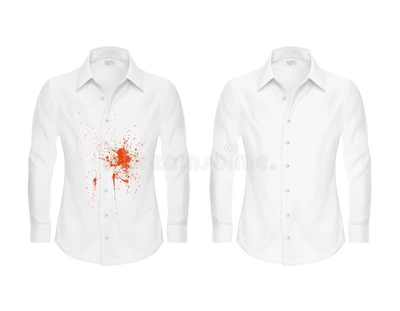 Reeks illustraties van een wit overhemd met een rode vlek en schoon, before and after droog-schoner s royalty-vrije stock afbeeldingen