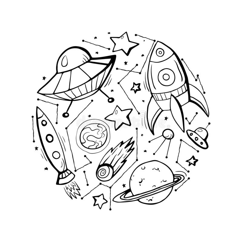 Reeks illustraties van het contourkind van sterren, spaceships en UFO royalty-vrije illustratie