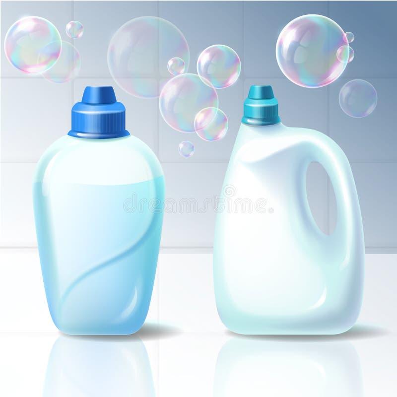 Reeks illustraties van plastic containers voor huishoudenchemische producten vector illustratie