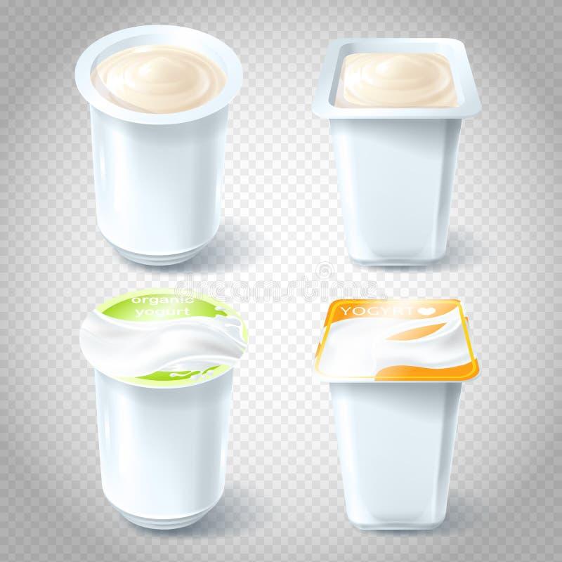 Reeks illustraties van plastic yoghurtkoppen stock illustratie