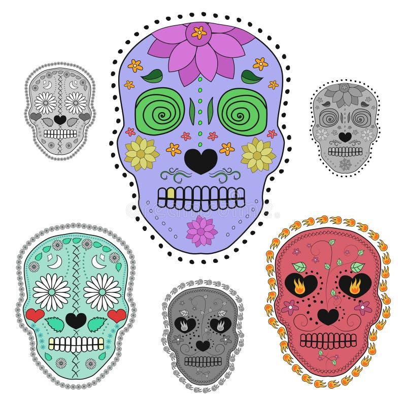 Reeks illustraties van suikerschedels Ontwerpelementen voor affiche, prentbriefkaar, vlieger, banner, druk Vector illustratie vector illustratie