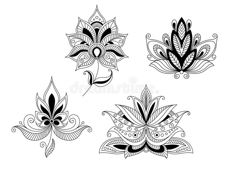 Reeks Indische en Perzische bloembloesems vector illustratie