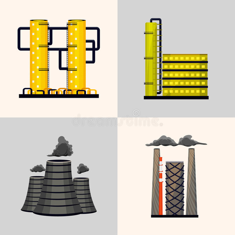 Reeks industriële gebouwen die energie voor mensen veroorzaken Kern en elektrische centrales Vector royalty-vrije illustratie