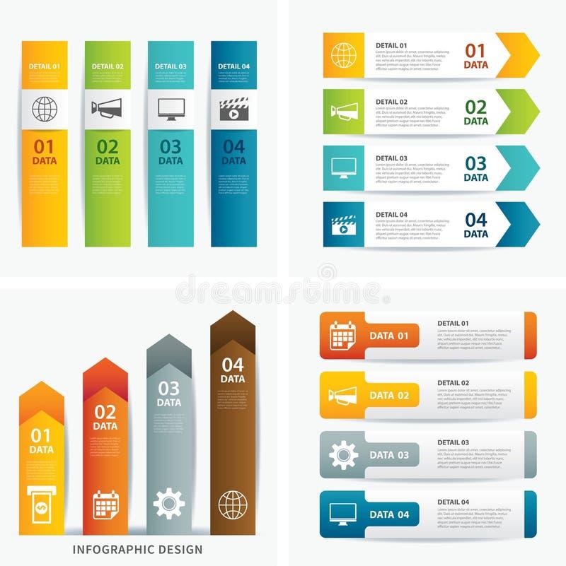 Reeks infographic malplaatjes stock illustratie