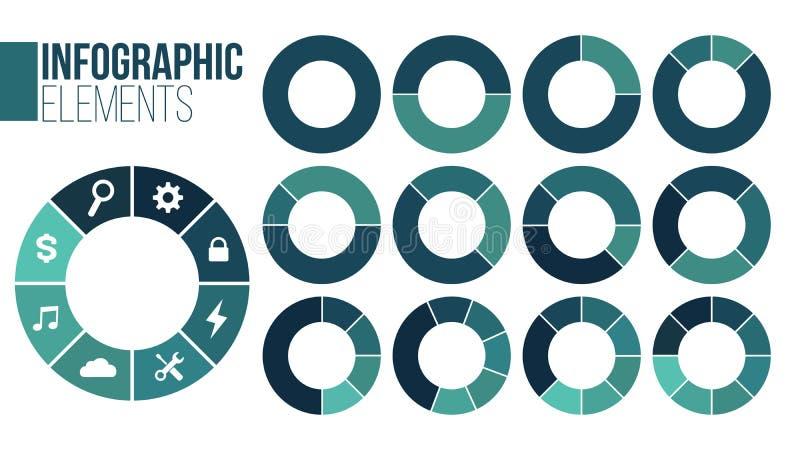 Reeks infographic malplaatjes van de cirkelgrafiek with1-8 opties voor presentaties, reclame, lay-outs, jaarverslagen Vector royalty-vrije illustratie
