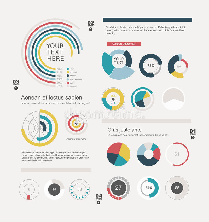 Reeks informatie-grafische cirkeldiagrammen vector illustratie