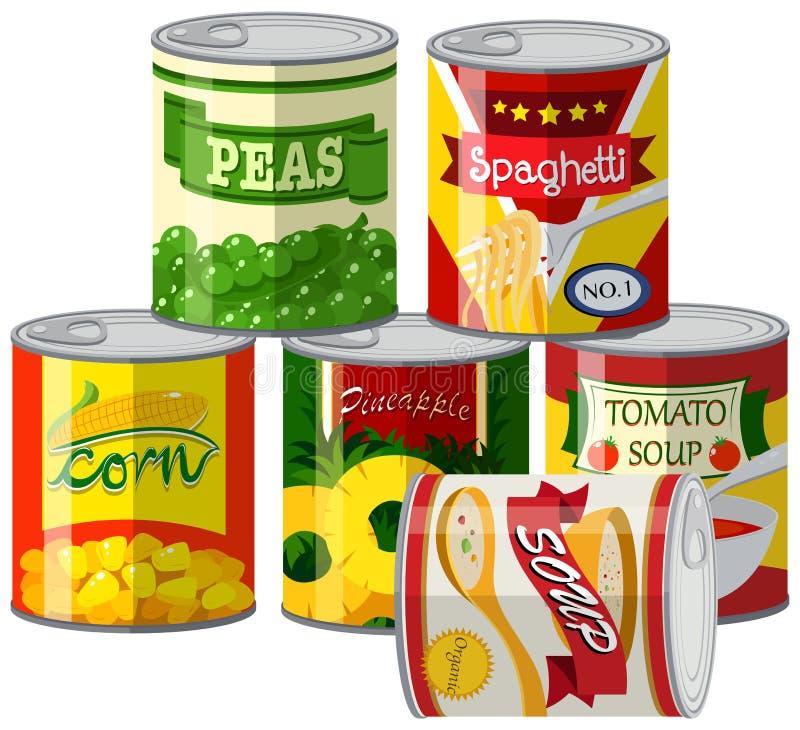 Reeks ingeblikt voedsel royalty-vrije illustratie