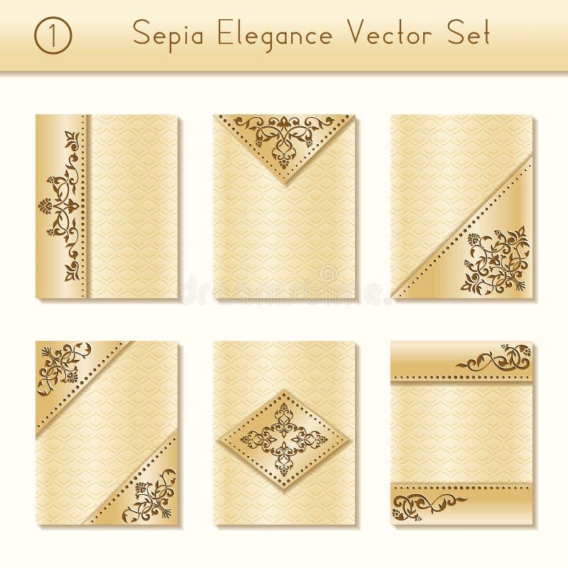 Reeks ingewikkelde sepia brochureontwerpen royalty-vrije illustratie