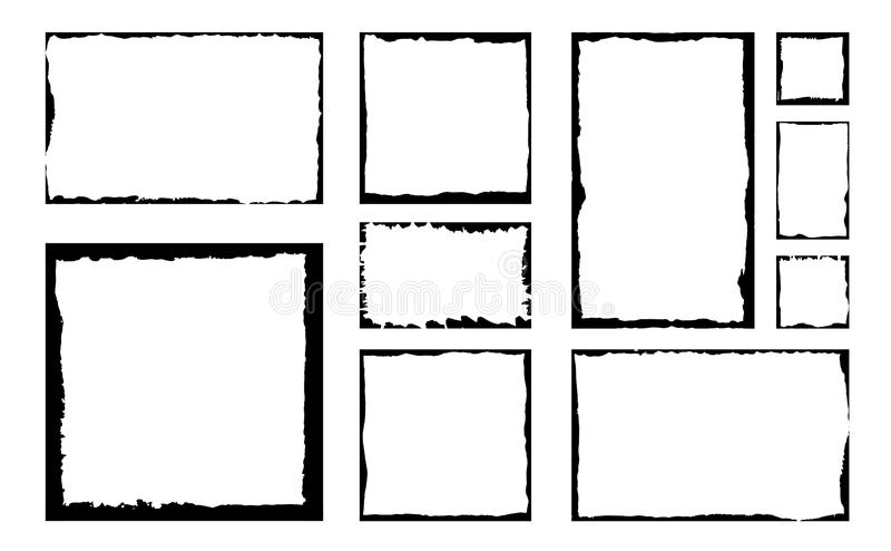 Reeks inkt grunge vierkante kaders Lege grensachtergrond royalty-vrije illustratie