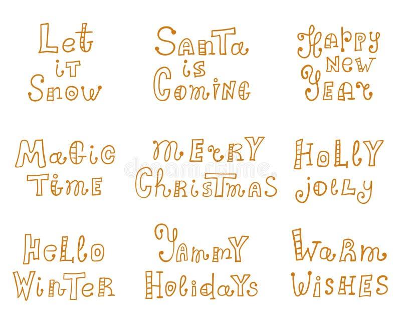 Reeks inschrijvingen op het Kerstmisthema Het Hand-drawn van letters voorzien Vectorvakantiewensen in krabbelstijl Kalligrafie royalty-vrije illustratie