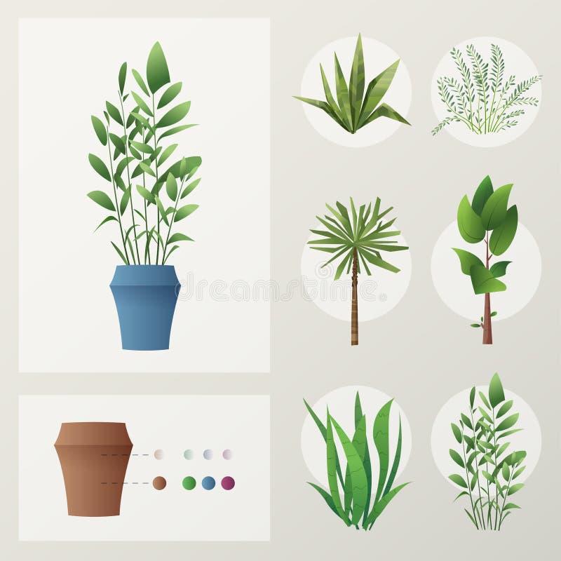 Reeks installaties De vectorillustratie van het beeldverhaal Groen Huis vector illustratie