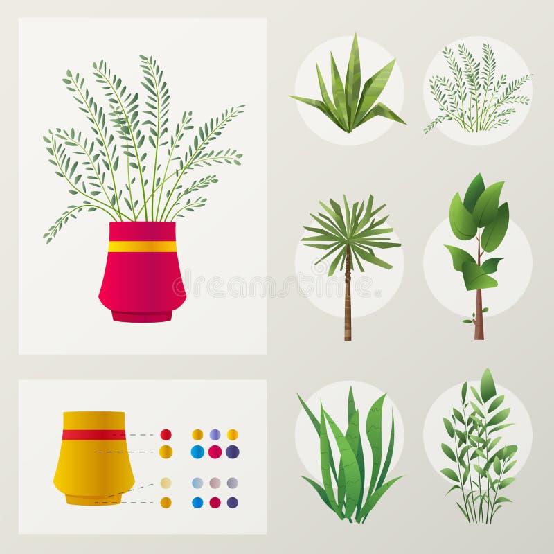 Reeks installaties De vectorillustratie van het beeldverhaal Groen Huis royalty-vrije illustratie