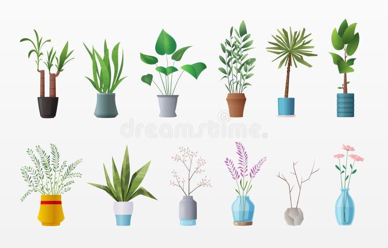 Reeks installaties en bloemen De vectorillustratie van het beeldverhaal royalty-vrije illustratie