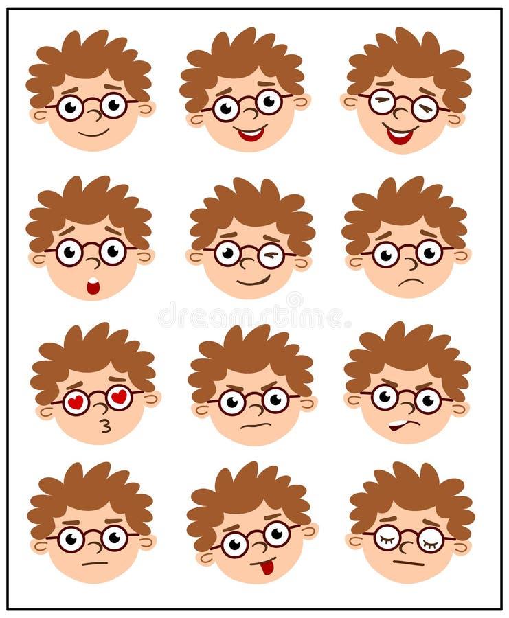 Reeks intelligente jongensgezichten in glazen met verschillende emoties royalty-vrije illustratie