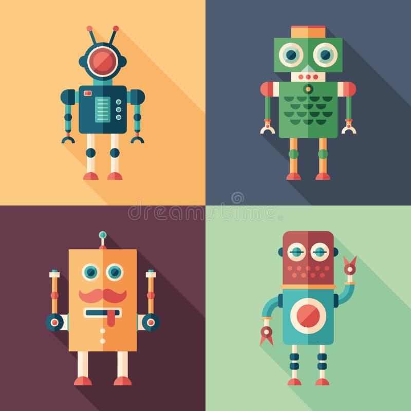 Reeks intelligente robots vlakke vierkante pictogrammen met lange schaduwen stock illustratie