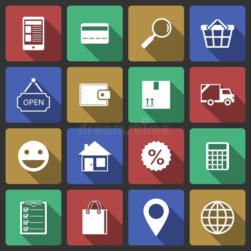 Reeks Internet-het winkelen pictogrammen royalty-vrije illustratie