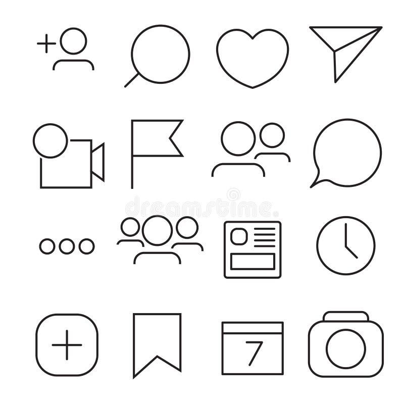 Reeks Internet pictogrammen Lijn, overzichtsstijl vectorbeeldillustratie stock illustratie