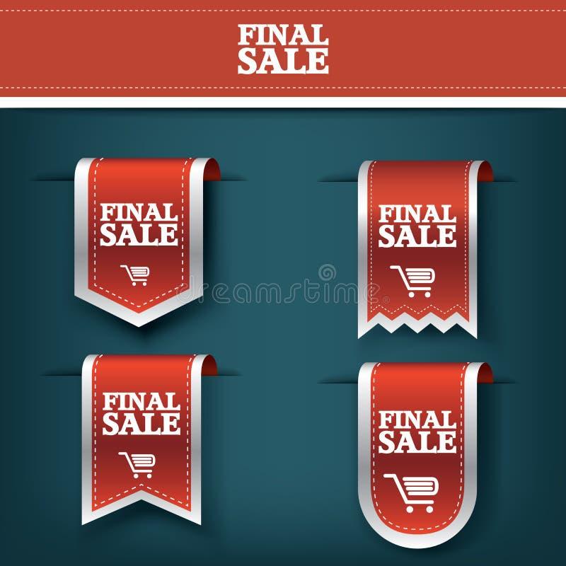Reeks, inzameling van Definitief vector de markeringspictogram van het verkoop rood lint voor productbevordering en het winkelen  vector illustratie